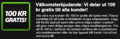 Mobilbet 100 kronor gratis