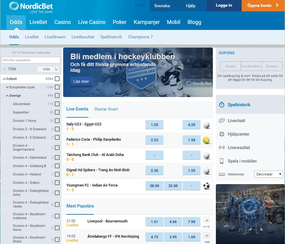 NordicBet Hemsida