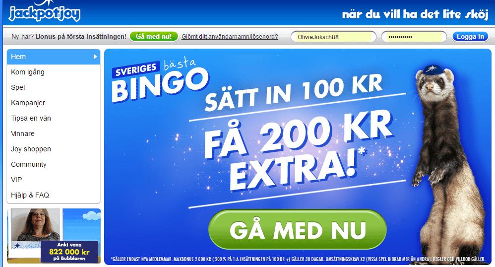 jackpotjoy bingo och jackpot screenshot