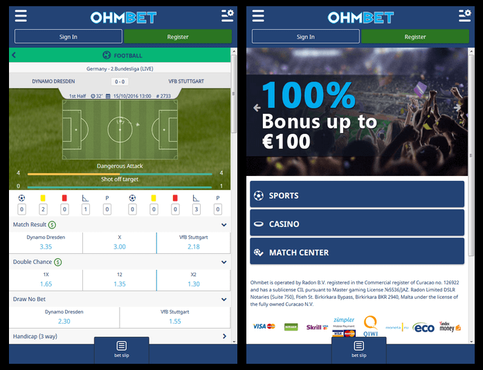 Ohmbet-mobile-betting screenshot