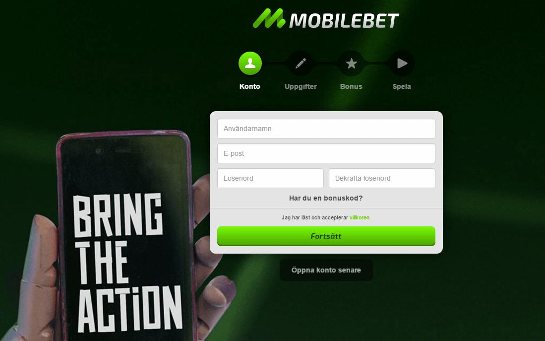 mobilbet registrering app