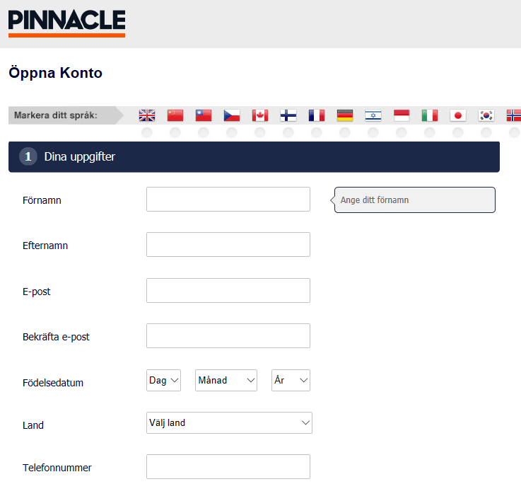 pinnacle vip-kod registrering