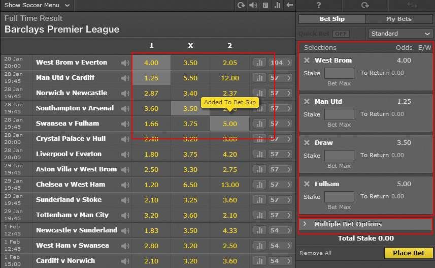 bet365-added to betting slip